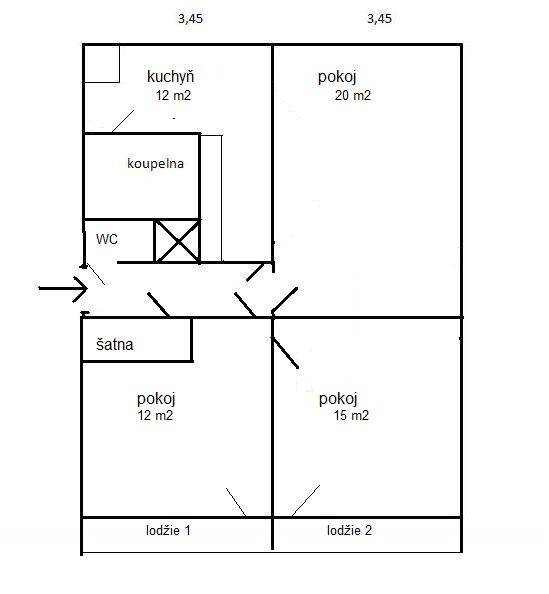 Pronájem bytu 3+1 v Adamově